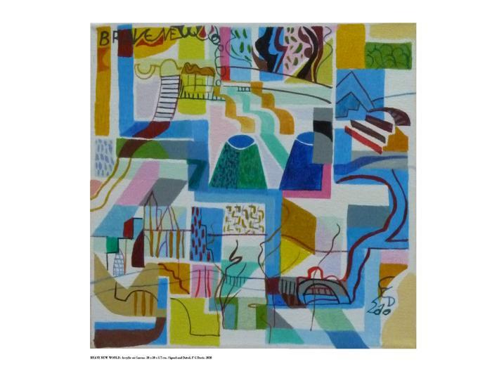 BRAVE NEW WORLD. Acrylic on Canvas. 20 x 20 x 3.7 cm 2010