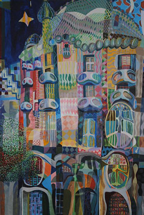 Casa Batlo. F G Davis. Mixed Media on Canvas. 2005.