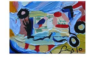 BIAH BIAH. (detail) Mixed Media on Canvas. 17.5x13cm. LABELS SERIES 55.