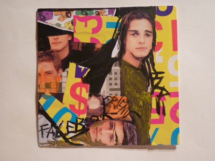 FACEBOOK FRIENDS. Portrait Series 2011. Mixed Media Collage on Card. 2011.