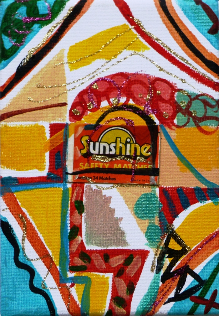SUNSHINE MATCHBOX AND ACRYLIC ON CANVAS. 17.7x12.7x1.5cm.