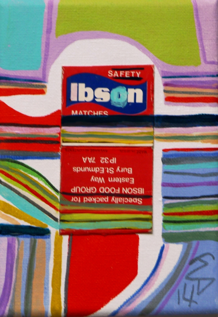 Matchbox Series No. 23. Isbon Matchbox and Acrylic on Canvas. 2014.