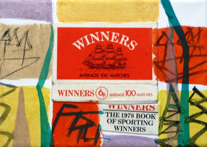 Winners Matchbox and Acrylic on Canvas. No.26. F G Davis 2014.