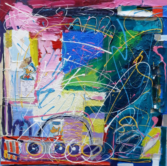 Stay in the warm today. 100x100 cm. Mixed Media on Canvas. 2012
