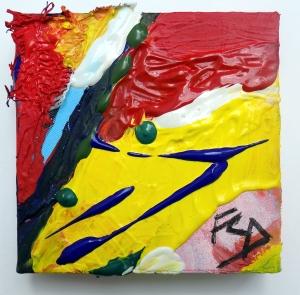 ALMOST EDIBLE. Mixed Media on Canvas. 15 x 15 x 4 cm. 2015. F G Davis.