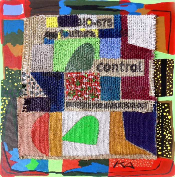 COFFEE SACK SERIES No. 8. ( In Control ) Mixed Media on Canvas. 50 x 50 cm. F G Davis 2016.