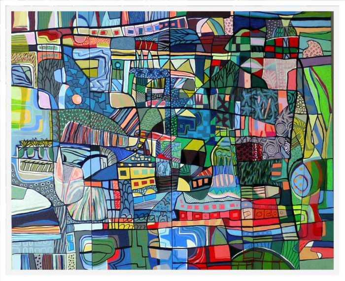 Parks and Gardens Acrylic on canvas ( 4x 30 x 100 ) 120 x 100 cm. Framed, 126 x 106 x 4.5 cm.2019