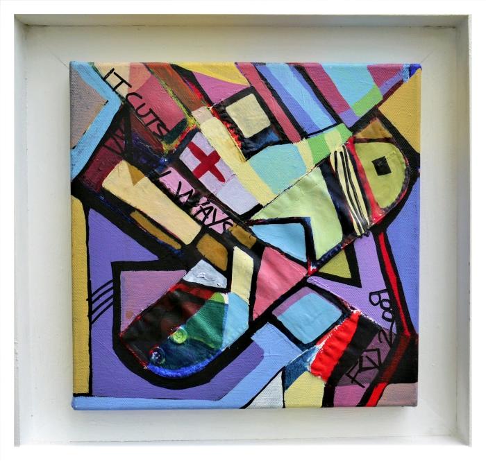 IT CUTS BOTH WAYS. Mixed Media on Canvas. 25.5 x 25.5 x 2 cm. 2009
