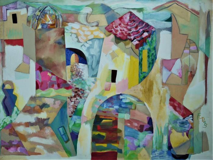 Regusse, Provence. Acrylic on Canvas. 1993. 122 x 91 x 2 cm
